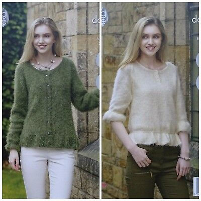 KNITTING PATTERN Ladies Easy Knit Frill Cardigan & Jumper DK King Cole 4960