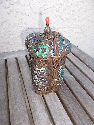 Antique Chinese Silver & Enameled Dragons Tea Caddy  - dents - Free Shipping