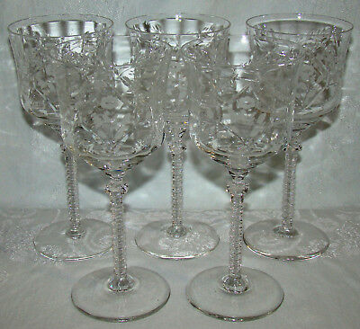 Set of 5 Antique Cut Crystal Optic Panel Wine Glasses with Cut Wafer Stems