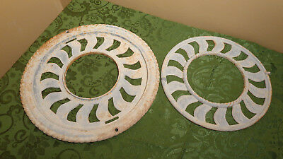 "Set of 2 Antique Round Heating Grates Cast Iron ~ 15.75"" & 12.75"" ~"