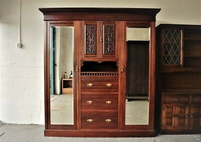 Antique Edwardian Wardrobe Compactum Solid Mahogany.