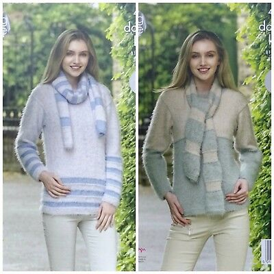 KNITTING PATTERN Ladies Easy Knit Two Colour Jumpers & Scarves DK King Cole 4962