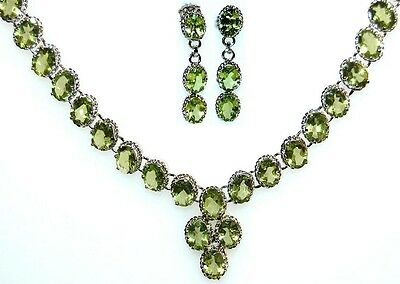 925 Sterling SILVER Necklace + Earrings SET PERIDOT Gemstone Earring NEW Jewelry