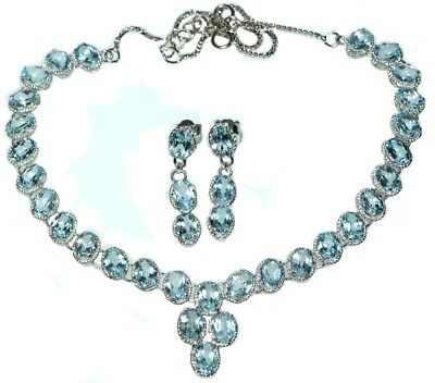 Sterling Silver SET Blue Topaz Necklace Earrings Genuine Gemstones 925 Jewellery