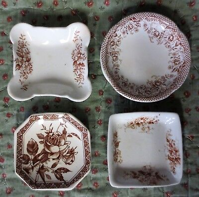 4 ANTIQUE BUTTER PATS Brown Transferware ROSES DOGWOOD All Floral ENGLAND