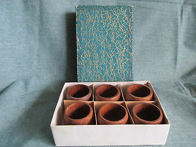 1960's Boxed set of 6 Genuine Burma Teak Napkin Rings
