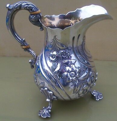 Antique Victorian sterling silver milk jug, 322 grams, Charles Gordon, 1838