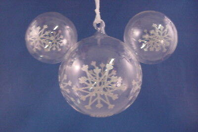 Large Mickey Icon Clear Glass Glass Ornament Dated 2009