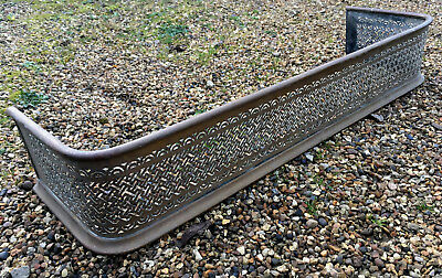 Antique Edwardian English Solid Brass Pieced Fire Guarde Fender Suround c1910