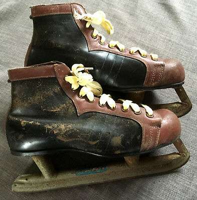Vintage Pair of PUCKMASTER Leather Hockey Ice Skating Boots Sports Club 50s 60s