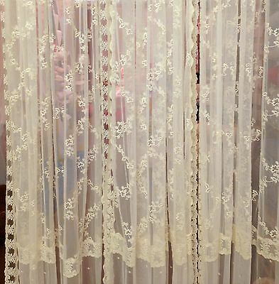 French Country Shabby Chic Curtains Ivory Lace 145cm Wide x 220cm Drop