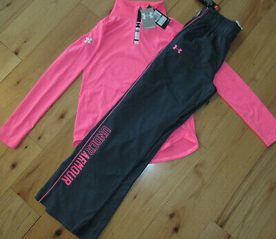 Under Armour tech neon pink 1/4 zip pullover shirt top NWT girls' L large YLG