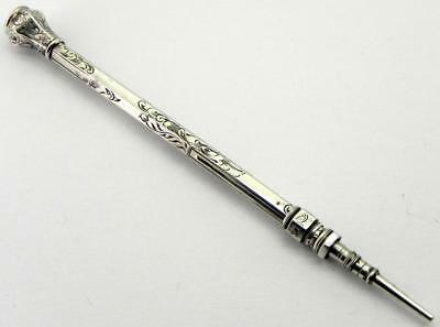 Victorian Silver Pencil with Carved Carnelian Seal Top of Ship.
