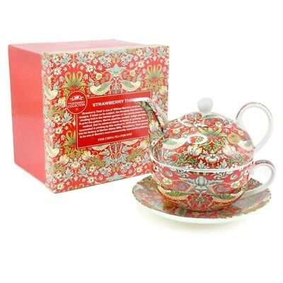 WIlliam Morris Red Strawberry Thief Tapestry Tea For One Teapot Cup Saucer
