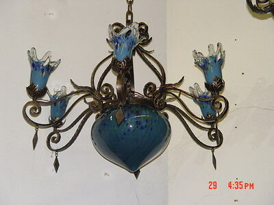 Art Deco Style Hand Made Wrought Iron  Chandelier & Blue Blown Glass Shades