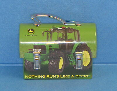 "JOHN DEERE MINIATURE TIN / METAL LUNCH BOX - 3 1/2"" Wide - VGC"