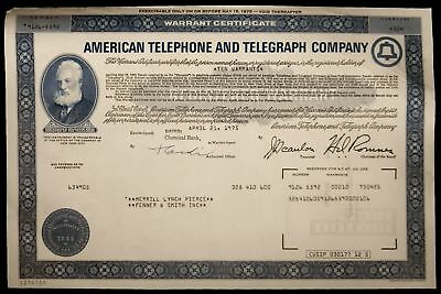 Stock Certificate American Telephone And Telegraph Co Warrant Certificate 1970