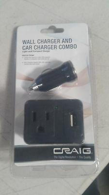 Craig USB Car Charger+Wall Charger and Car Combo