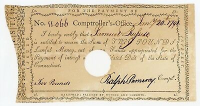 1791 2 Pounds - Comptroller's Office CONNECTICUT Interest Payment Certificate