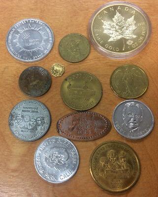 Lot Of 12 Different Tokens ~ .99 Cent Starting Bid & No Reserve!