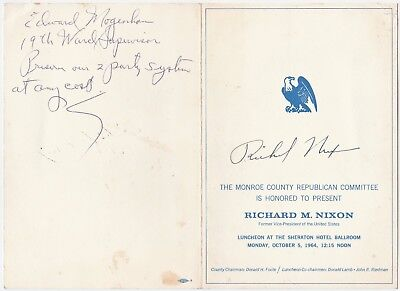 Inscribed & Signed - Richard Nixon 1964 Rochester NY Republican Committee Dinner