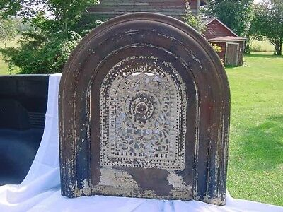 Antique Victorian Ornate Cast Iron Fire Place Surround Summer Cover Arched