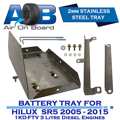 AOB DUAL BATTERY TRAY for TOYOTA HILUX SR5 Diesel 2005 - 2015 STAINLESS STEEL