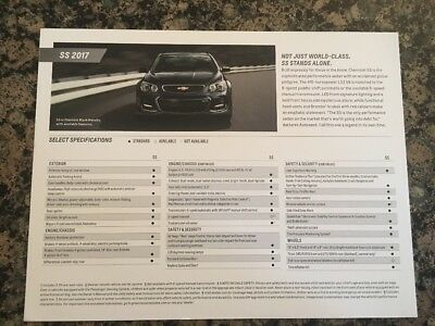 2017 Chevrolet SS Sedan Brochure Card Holden Caprice NEW Media