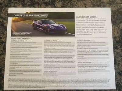 2017 Chevrolet Corvette Brochure Card Stingray Grand Sport NEW 2LT Media
