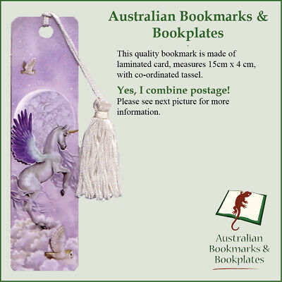 Unicorn and Owl (Moonshine) bookmark with tassel (0615)