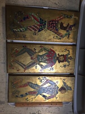 Vintage Folk Art Jester Knights Painting On Wood Gilded
