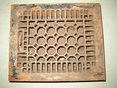Vintage Cast Iron Heat Grate Vent Register Top 9 3/4 X 11 5/8 ART DECO
