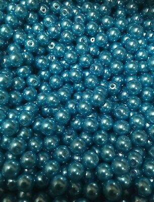 Pearl Glass Bead 8mm Bright Turquoise Coloured X 125