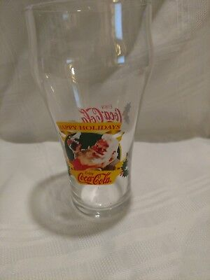Vintage Coca Cola Christmas Santa Happy Holidays Bell glass From 1997