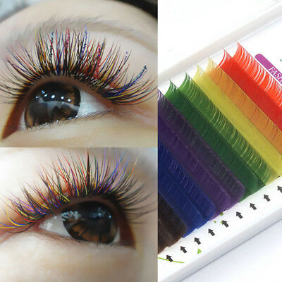 Individual Multi-Colored Eyelash Extensions Rainbow Color Lashes 8-12mm b