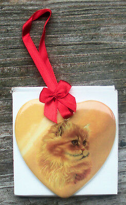 "Cat Tree Ornament - Orange Brown Persian - 3"" x 3"" - Ceramic - Mint In Box"