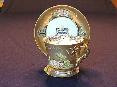 Antique Ginori Doccia Capodimonte Porcelain Cup & Saucer With Twisted Handle