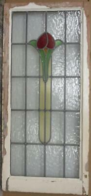 "LARGE OLD ENGLISH LEADED STAINED GLASS WINDOW Cute Floral 20.25"" x 44.5"""