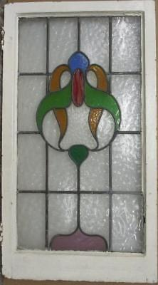 "LARGE OLD ENGLISH LEADED STAINED GLASS WINDOW Beautiful Abstract 20.75"" x 37.5"""