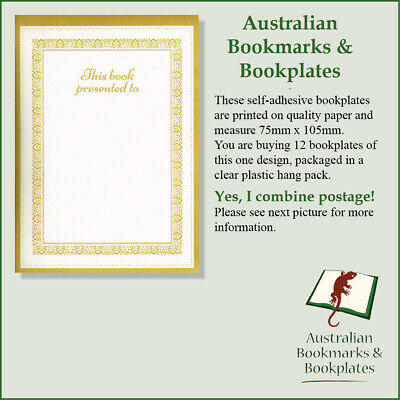 """Gold, """"Presented To"""" bookplates, self-adhesive (12)"""