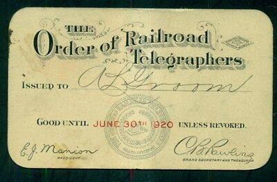 1920 The Order of Railroad Telegraphers Membership Card