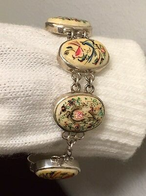 Collectible Rare Antique Persian Miniature Hand Painted On Bone  Bracelet 7-3/4""