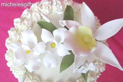 Sugar Gum Paste White Yellow Orchids Stephanotis Leaves Cake Decorating Flowers
