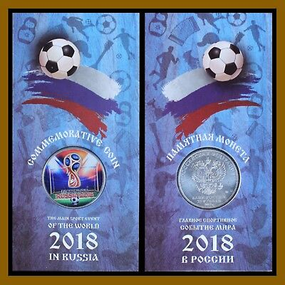 Russia 25 Rubles Colored Coin/ Blister, 2018 FIFA World Cup, Soccer 1st Issue R1
