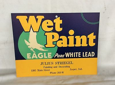 Eagle Wet Paint Cardboard Sign Julius Striegel Jasper Indiana
