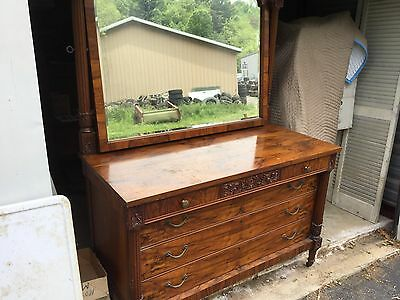 ANTIQUE BURL  Carved WALNUT 3 over 3 Dresser with Mirror & Key - Awesome