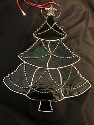 Stain Glass Christmas Tree  Sun Catcher Window Wall Hanging