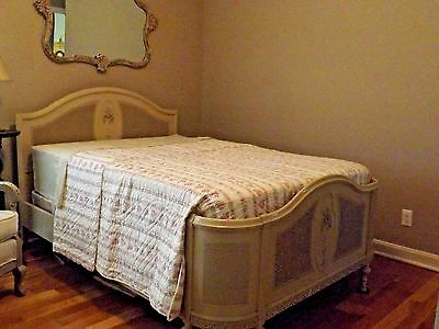 ANTIQUE BED PAINTED CANED FRENCH APPLIQUES caning FLOWERS country CHIC chippy