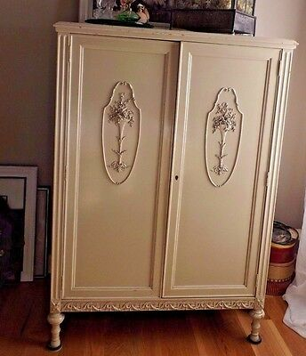 Antique Wardrobe Armoire French Farmhouse Painted Beige Lots Detail MUST LOOK