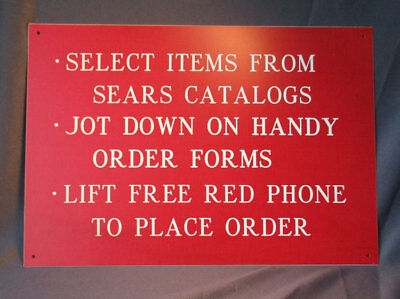 Circa 1960's Sears Catalog In-Store Sign - Use Phone to Place Order